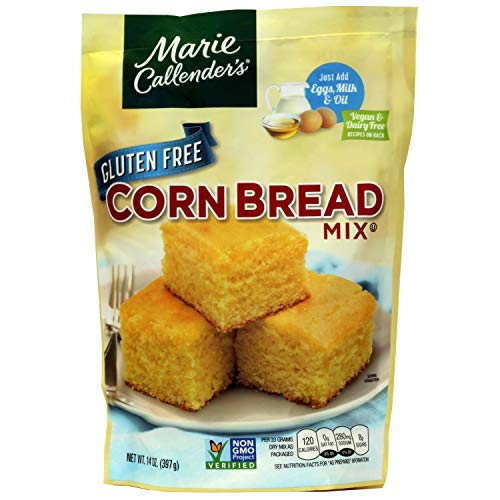 """Marie Callender's CornBread Mix, GLUTEN FREE, 14OZ BAG. Add Eggs, Milk, Oil. Then Mix and Bake. Makes 8"""" Loaf (Pack of 1)"""