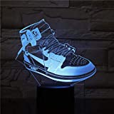 3D Led Optical Illusion Lamps Night Light 3D Led Night Light Energy Saving Light Fashion Shoes Changing Touch Switch Desk Decoration With Remote Control For Baby Boy Girl Kids Women Men