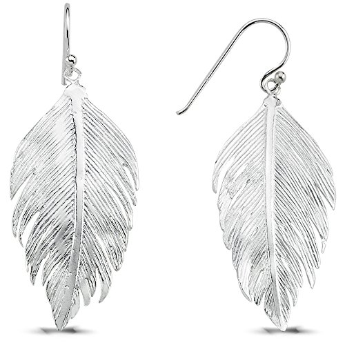 Vinani Ohrhänger Feder lang glänzend Sterling Silber 925 Ohrringe Vogel Indianer 2OHH