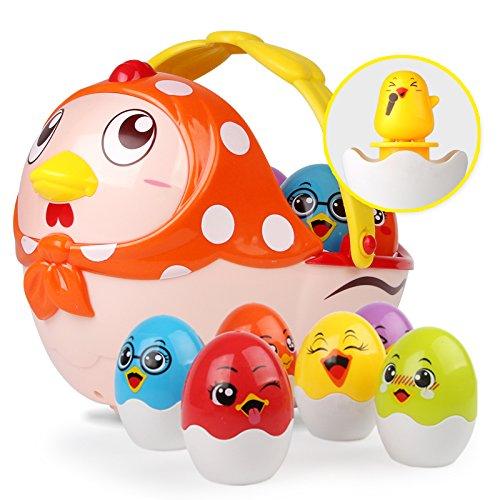 nicknack Giocattoli musicali per bambini, regalo di giocattoli per uova di Pasqua per bambini, gallina pasquale con 6 giocattoli per uova impilabili e nidificanti per i più piccoli