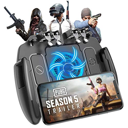 """Mobile Game Controller, Upgrade 6 Fingers Operation Joystick Mobile Game Trigger with Cooling Fan Compatible for PUBG/Fortnite, for 4.7-6.5"""" iPhone Android iOS Cellphone Gamepad Accessories"""