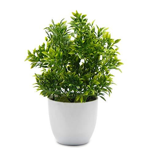 OFFIDIX Plantas Artificiales Mini Plantas de eucalipto de plástico para Oficina Decoración del hogar Falsas Plantas Plantas de plástico de imitación con florero Blanco