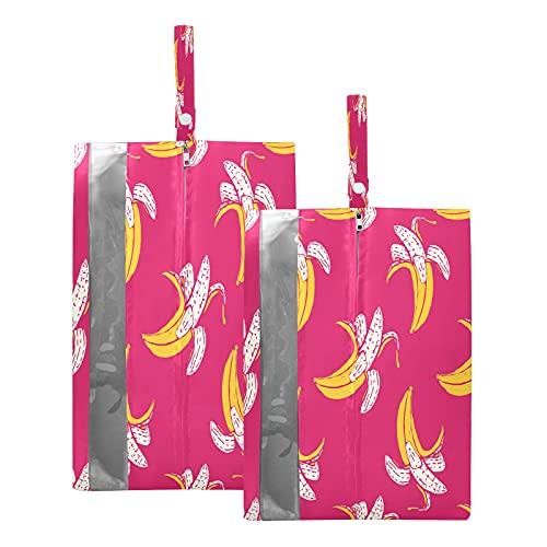 F17 - Bolsas de viaje para zapatos con estampado de frutas tropicales, impermeables, portátiles, ligeras, para viajes, bolsa de almacenamiento para hombres y mujeres, 2 unidades