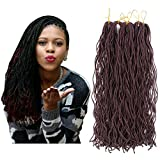 Alileader 40inch 6pcs Small Dreadlock Mini Locs Curly Crochet Synthetic Braiding Hair, 15 Roots/Pcs, Soft Curly Twist Dreadlocks Thin Dreadlock Stylish Dreadlock (Dark Purple)