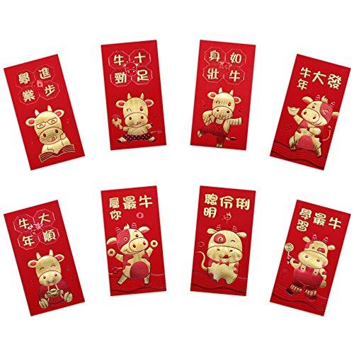 32 Stück Chinesisches Neujahr Rote Umschläge 2021 Chinesische Neujahr Hong Bao Glücksgeldumschläge Chinesische Frühlingsfest Ochsenjahr Glücks Hong Bao, 8 Stile (17 X 9 cm)