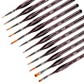 AIEX 12pcs Fine Detail Paint Brush Set Miniature Painting Brushes Kit Mini Paints Brush Set for Acrylic, Watercolor, Oil, Face, Nail, Scale Model Painting, Line Drawing(Brown)