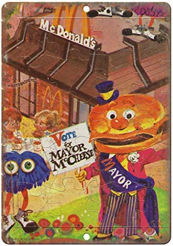 HALEY GAINES McDonald's Mayor McCheese Hamburger metalen metalen metalen metalen borden decoratie retrostijl schild vintage aluminium poster originele muurkunst voor bar café keuken garages 20 × 30 cm