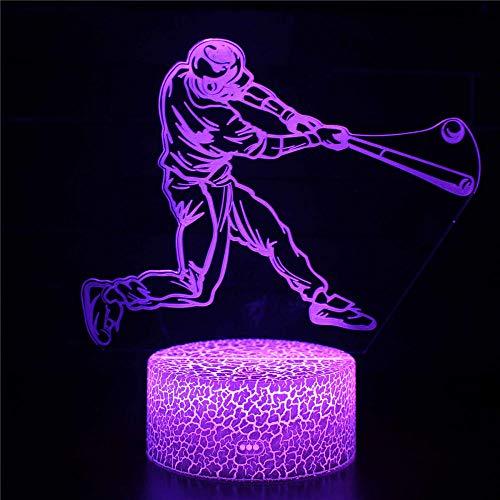Optische Illusion 3D-Lampe, 3D-Nachtlicht, Baseballspieler, 16 Farbwechsel-Dekor-Lampe – perfektes Geschenk für Kinder und Zimmer