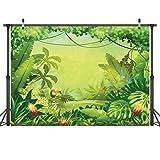 LYWYGG 7x5FT Thin Vinyl Animation-Jungle Photography Telones de Fondo Foto Estudio Foto Props Niños Cumpleaños Baby Shower Photo Booth Photo Telón de Fondo Fotografía CP-35