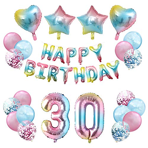 JinSu 30 Anni Compleanno Decorazioni per Ragazza Bambina, 23 Pezzi Palloncini per Compleanno, Bandiera Happy Birthday, Palloncino in Foil a Stella, Palloncini in Lattice con Coriandoli