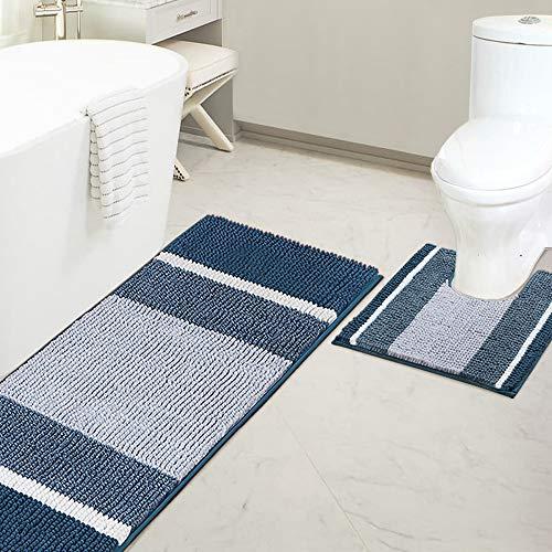 "Bathroom Rugs Luxury Chenille Mat Set Soft Plush Shower Rug + Toilet Mat, Microfiber Striped Shaggy Carpet Bath Mats for Bathroom Machine Washable(Curved Set, 47"" x 17""/20"" x 20"", Moroccan Blue)"