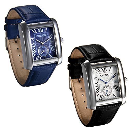 JewelryWe 2pcs Herren Armbanduhr, Retro Kalender Analog Quarz Uhr mit Rechteckig Römischen Ziffern Zifferblatt und Leder Armband, Farbe: Schwarz, Blau