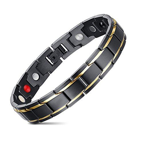 JFUME Magnetico Bracciale Uomo Braccialetto in Acciaio Inossidabile,18K Placcato Oro Nero Oro 21cm