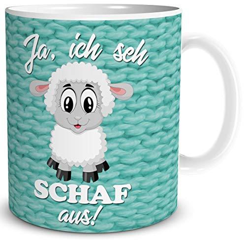 Tasse Schaf mit Spruch lustig Ich SEH Schaf aus Schafmotiv Geschenk für Arbeit Büro Frauen Freundin Kollegin Schaffans Türkis
