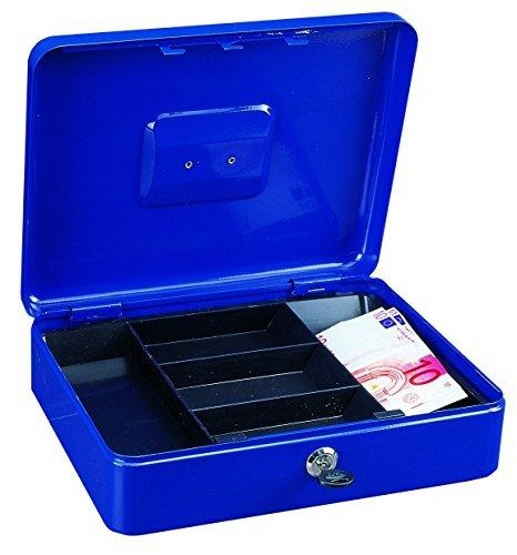 HomeDesign valigetta porta contanti HomeDesignKey HDK-2400-Blu, in acciaio, con vassoio estraibile compartimentato, serratura a cilindro, maniglia a scomparsa per facile trasporto,blu.