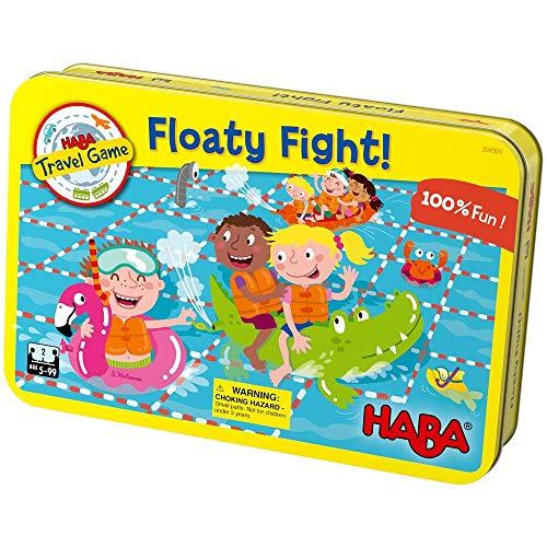 HABA Floaty Fight – un juego de viaje magnético compacto – Colocación de azulejos tontos para edades de 5 y más – ¿Golpearás o perderás tus oponentes flotas?