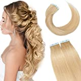 12'(20cm) SEGO Extensiones Adhesivas Pelo Natural VOLUMEN GRUESO [3g*20PCS] #24 Rubio Natural Cabello Humano sin Clip Remy Liso Balayage Tape in Human Hair Extensions (60g)