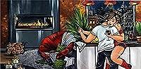 ZJYMDS ダイヤモンド絵画アート脂肪の女性カップルダンス5Dのフルドリルスクエアダイヤモンドビーズ絵画大人のための数字キット漫画の壁の装飾のための美しい女性12x60inch / 30x60cm
