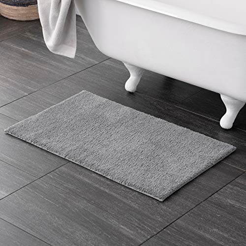 Welhome 100% Microfiber Drylon Non Slip Bath Rug - Latex Backing - Ultra Absorbent - Quick Dry - Soft - Durable - Hotel Spa Bathroom Collection -21'x 34' -Gray