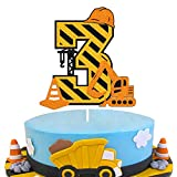 Ohiviaaa Construction 3th Birthday Cake Topper for Kids Boy Girl Truck Excavator Forklift Dump Bulldozer Road Roller Engineering Themed Three Year Old Happy Birthday Party Supplies