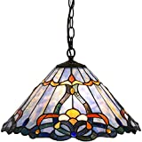 Bieye L10786 Baroque Tiffany Style Stained Glass Ceiling Pendant Light with 18 inches Wide Lampshade, Blue