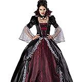 Fanessy Femme Déguisement Vampire Noir Halloween Robe de Fête Toussaint Mariée du Cimetrère Party Soirée Jeu de Rôle