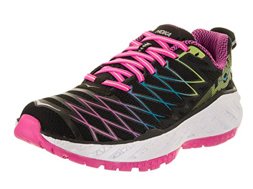 HOKA ONE ONE Women's Clayton 2 Running Shoe, Black/Fuchsia/Green Glow, 5.5 B(M) US