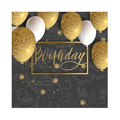 YongFoto 1,5 x 1,5 m polyester verjaardag foto achtergrond alles goed voor verjaardag banner gouden confetti ballonnen tafel fotografie achtergrond partydecoratie fotostudio achtergrond fotoshooting
