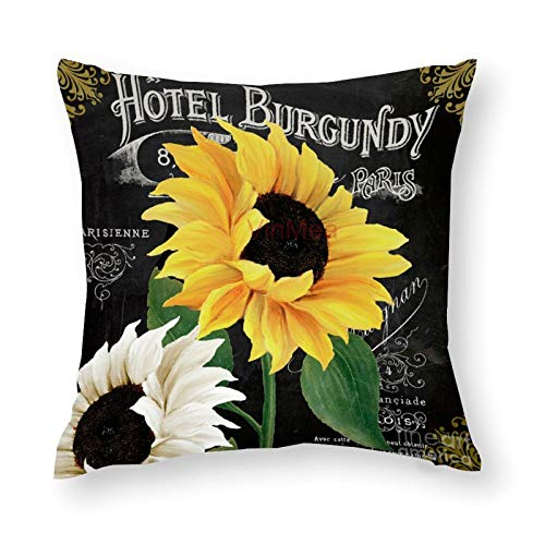 YYone Decorative Throw Pillow Covers Vintage Pattern Fleur Du Jour Sunflowers Decorative Throw Pillow Case Cushion Cover Cotton For Sofa Couch Chair Seat,Square 16 X 16 Inches