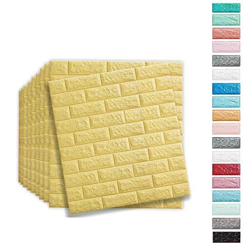Soontrans 3D baksteen behang baksteen patroon muurstickers zelfklevende wandpanelen voor keuken badkamer Balkon, 77 x 70 cm 10pcs Beige