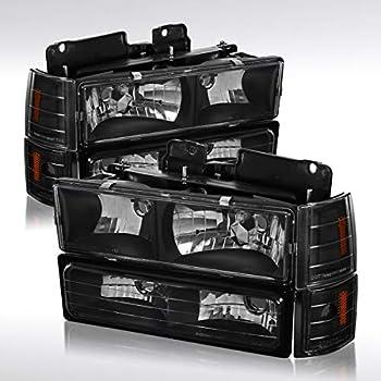 Autozensation For GMC C10 Sierra Yukon Black Headlights+Corner Bumper Lamps+Amber Reflectors Pair