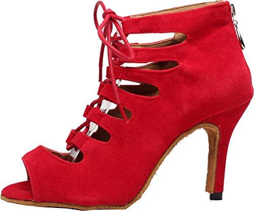 Zapatos de baile sexy para mujer con botas latinas, salsa, tango social, salón de baile, vestido de novia, color Rojo, talla 35.5 EU
