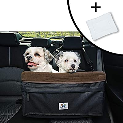 """Boosta Pooch Dog car seat Large Size, Double or Single, Suitable for one or Two Dogs Weighing up to 30lbs or 14 kgs. Choice of Three Colours. 19"""" L x 14"""" W x 10"""" H. (Black and Brown)"""