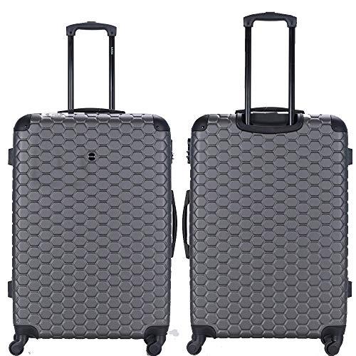 Maleta de plástico ABS para equipaje de viaje con 4 ruedas giratorias, bolsa de equipaje, cerradura de combinación de 4 esquinas giratorias con ruedas