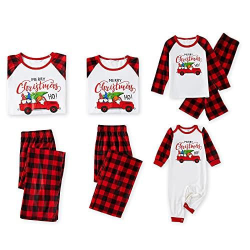 IFFEI Matching Family Pajamas Sets Christmas PJ's Red Plaid Raglan Manga Larga Sleepwear Sleepwear, Blanco, 8-9 Años