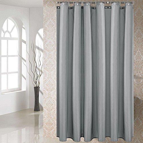Duschvorhang Anti-Schimmel & Wasserdicht Polyester Textil Duschvorhang für Badewannen mit Haken Grau 120x180cm