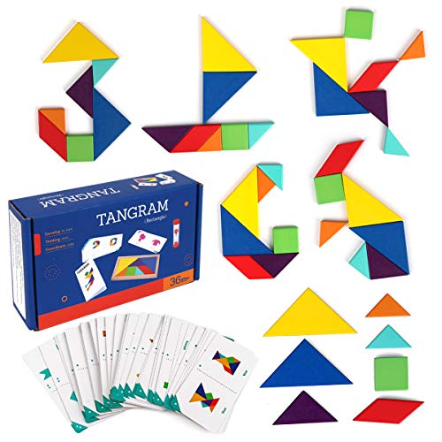 Coogam Holz Reise Tangram Puzzle - Farbmuster Block Karteikarten Road Trip Spiel Puzzle Formen Montessori Geometric mit Lösung Lernspielzeug Geschenk für Kinder
