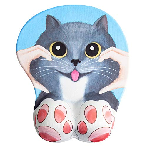 Anime 3D Mouse Pad Cat Ergonomic Mousepad with Wrist Support for PC Mac (Blue)