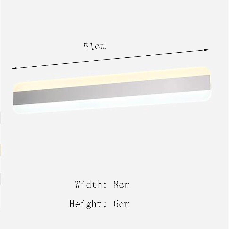 FEI LED Badezimmerspiegel Licht LED Einfache moderne wasserdichte Make-up-Spiegel beleuchtet Frontleuchten Badezimmerspiegel Frontleuchten Wandleuchte (Farbe   Warmes Licht-51cm-20W)