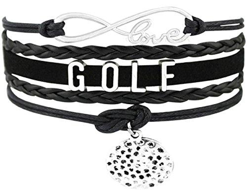 LL-Golf® Golf Armband I Love Golf met golfbalhanger in zwart/ketting/sieraad cadeau