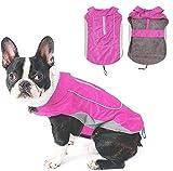 Morezi Dog Warm Coats Jackets Waterproof Coats with Harness Hole Puppy Coat for Small Medium Dogs - Pink - M