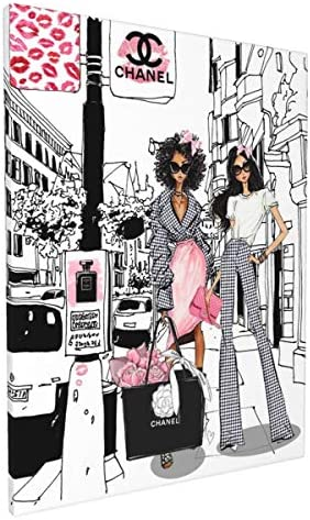 African American Wall Art Black Girl Pink Canvas Prints Modern Fashion Women Art Contemporary product image