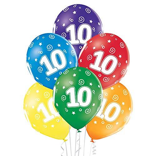 Party Factory 25er Set bunte Luftballons, Zahl 10, Ø 27cm, für Geburtstag oder Jubiläum, umweltfreundlicher Heliumballon aus Latex