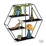 Relaxdays Estantería de Pared con 4 estantes, Flotante, Hexagonal, para salón,...