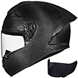 ILM Motorcycle Full Face Helmet Carbon Fiber Lightweight 2 Visors for Professional Racing Motocross DOT Approved (M, Carbon Fiber)