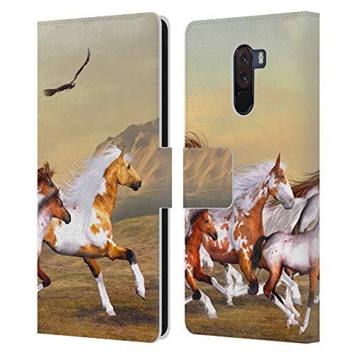 Offizielle Simone Gatterwe Wilde Herden Pferde Leder Brieftaschen Huelle kompatibel mit Xiaomi Pocophone F1 / Poco F1
