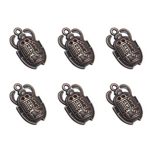 FENICAL 40 Piezas de Colgantes de Escarabajo Egipcio Vintage encantos de Escarabajo DIY Accesorios de fabricación de Joyas para Pulsera de Collar (Cobre Rojo)
