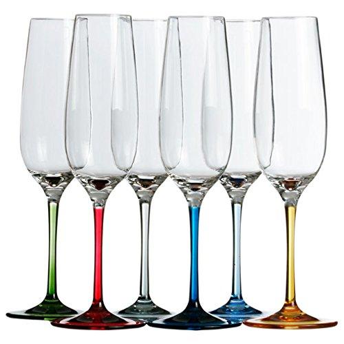 Marine Business Party Copas DE Champagne, Transparente y Multicolor, 4.3 cm, 6...