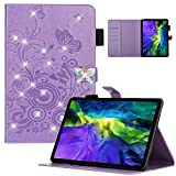 iPad Pro 11 Cover 2021/2020 for Girl Women, APOLL Embossed Butterfly Case for iPad Pro 11 Inch 3rd/2nd Generation with Pencil/Card Holder 3D Bling Diamond Folio Stand Auto Wake/Sleep, Purple
