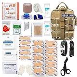 GRULLIN Kit de Control de Sangrado de Primeros Auxilios táctico de Emergencia EMT, Bolsa Militar MOLLE de liberación rápida con cizalla de Trauma, férula, Vendajes para heridas, Equipo